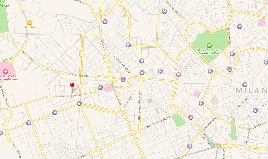 Mappa Centro Yoga Sangha Milano